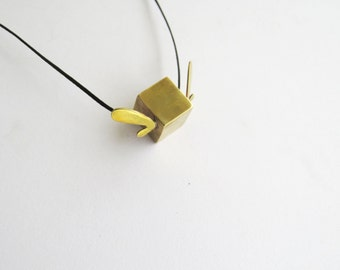 10% SALE, Cubed hearted pendant, minimalistic geometric abstracted jewel