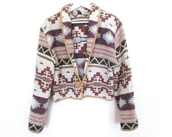 90's Southwestern Pattern Woven Cropped Coat size - S/M