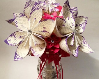 Paper Flower Wedding Bouquet- 10 inch, 18 flowers, handmade, made to order, personalized, origami, one of a kind, non traditional