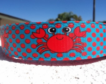 """Sale Dog Collar Big Eyed Crabs 1"""" width collar in Side Release buckle or Martingale collar adjustable"""