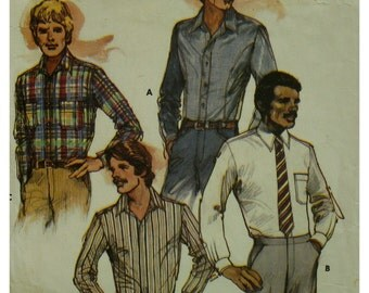 "80s Men's Shirt Pattern, Shoulder Yoke, Pointed Collar and Band, Long Sleeves, Cuffs, Front Seams, Butterick No. 3364 Size 38"" 97cm Chest"