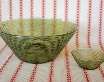 1960s Anchor Hocking Avocado Green Soreno Chip and Dip Bowls or Salad and Dressing Bowls  Olive Green Soreno Bowl