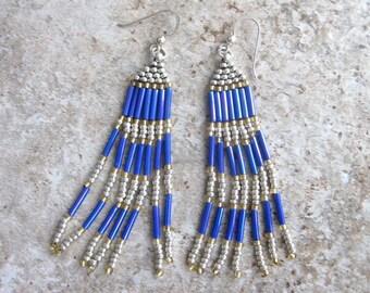 Fringe Earrings Purple Gold Platinum Beaded Woven Dangle Earrings Women Jewelry Gift