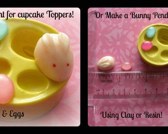 Easter Bunny Mold Tiny Egg Charm Earring Mold Rabbit Mold Polymer Clay Cabochon Mold Resin Clay Mould