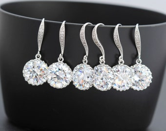 set of 8 clear bridesmaid earring bridal party earring zirconia earring