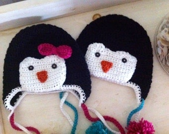 Boy or Girl Penguin Hat Newborn to Child Sizes