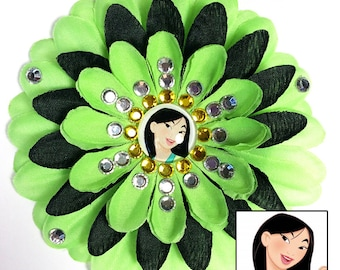 Mulan Green and Black Penny Blossom Sparkly Rhinestone Flower Barrette