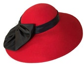 Vintage Red Hat, 1960's Wide Brimmed Hat with Black Bow, New With Tags, Designed by Sylvia, MINT CONDITION
