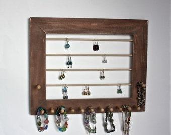 Rustic Jewelry Holder Earring Organizer for Earrings, Bracelets, Necklaces.