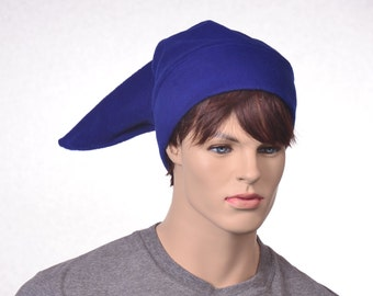 Royal Blue Elf Hat Mens Stocking Cap Blue Fleece Pointed Hat Costume Dwarf Hat