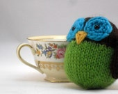 Hand Knit Owl Plush Ready To Ship Brown Lime Turquoise