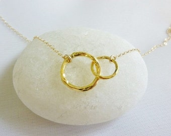 double circle necklace,eternity necklace gold,double link necklace-Infinity Necklace-Silver Eternity Necklace-Karmar Necklace-Momentusny