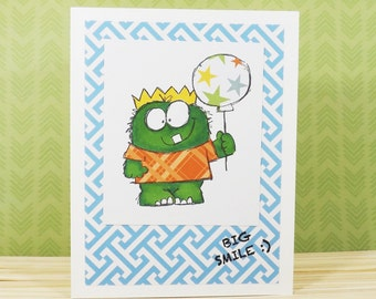 Monster Balloon Any Occasion Card w 25 percent to Animal Charity