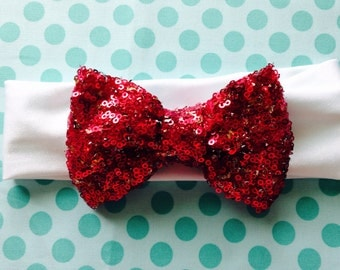 Sparkle sequin hot pink bow turban