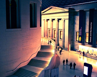 London Photography, British Museum Print, London at Night Photo, Pink Navy Blue, London Decor, London England, Office Wall Art