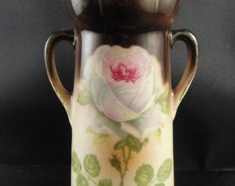 Bud Vase Rose Design Two Handled Czech