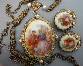 Vintage Fragonard Necklace Earrings Set West Germany Porcelain Cameo Pendant earrings AB rhinestone accents in gold filigree antique jewelry