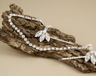 wedding Rhinestone Hair Chain -  Great Gatsby Silver hair chain - bridal Hair accessories - Silver Crystal Bridal Headband