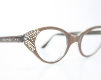 Large Brown Rhinestone cat eye glasses vintage cateye eyeglasses frames