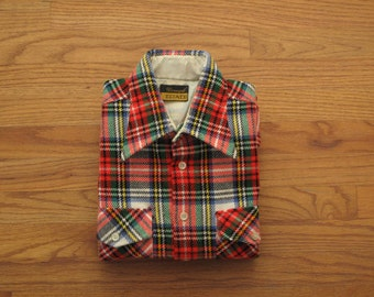 mens vintage tartan wool work shirt