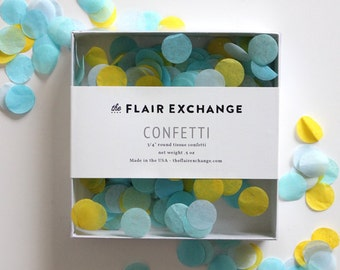 Wedding Confetti - Hand-Cut Confetti - Poolside : Yellow, Powder, Oxford Blue, Aqua