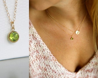 14K Gold Filled, Peridot Necklace, Birthstone Necklace, Layering Necklace, Simple Necklace, Minimalistic, Green Gold, Gemstone Necklace