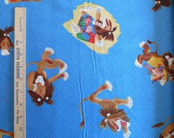 Tawny Scrawny Lion Lions on Blue Fabric Quilting Treasures 100% Cotton By the Yard