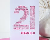 personalised birthday card - special age birthday card - typographic personalized birthday card