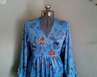 1970's Fairy Bell Sleeved Dress Whimsical Boho Dress Hippie Dress Large