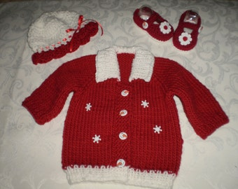Frosty Red 3 Piece Knit Sweater Set for 3-6 months