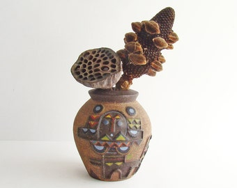 Aztec Inspired Pottery Vase, Rustic Home Decor, Inca or Maya Inspired Pot, Mexican Inspired Ceramics