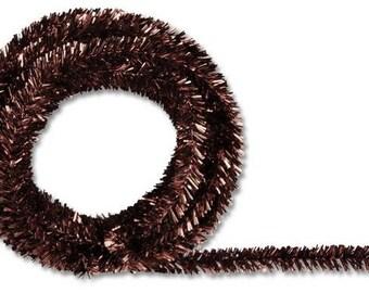 Chocolate Metallic Tinsel Roping , Mesh Supplies, Poly Mesh Supplies, Mesh Ribbon (25 FEET)