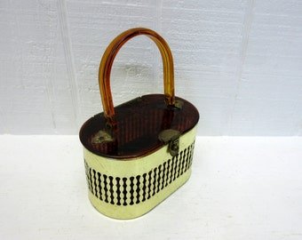 Vintage Pamart Lucite and Metal Box Purse
