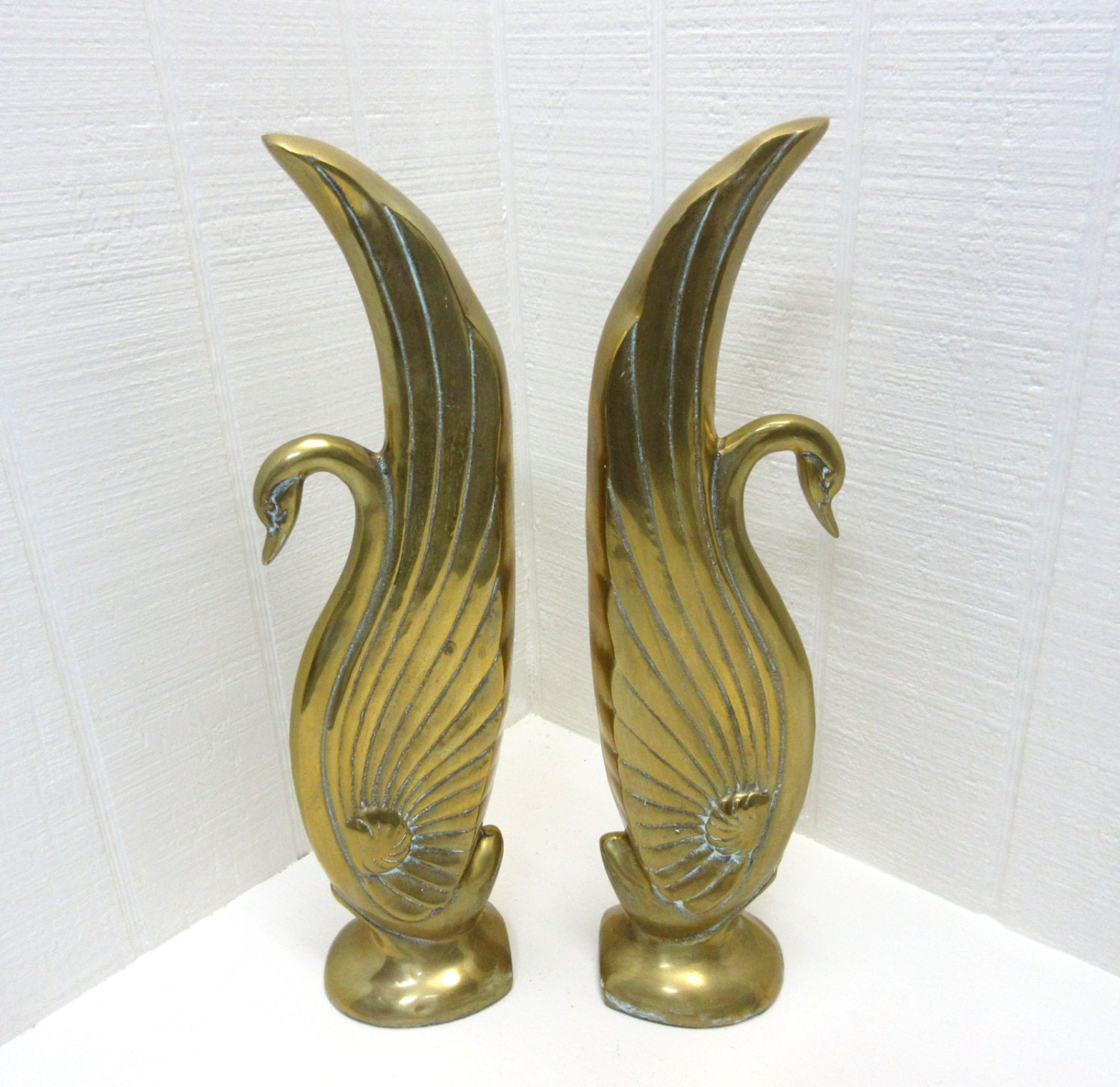 vintage brass swans art deco bookends