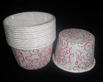 Red Swirl Baking/Candy Cups, Portion Cups, Nut Cups, Ice Cream Cups, Valentines cups, Valentines Cupcakes, Weddings - Qty 12