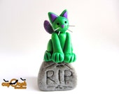 Gravestone Kitty - A Spooky Green and Purple Cat Fairy and his Comfy Seat