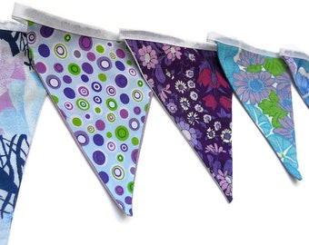 SALE Retro bunting, Funky 60s 70s Vintage Fabric Bunting in  Purple, Lilac and Blue Florals