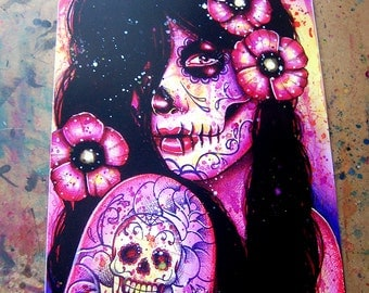 Tattoo Art Print - I'll Never Forget Signed Art Print - Day of the Dead Pop Art Portrait By Carissa Rose 5x7, 8x10, or Apprx 11x14 Inches