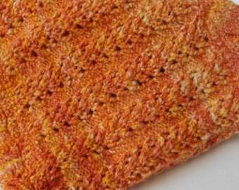 cowl - orange neck warmer, made of hand dyed and hand spun yarn, polwarth