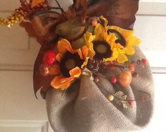 Burlap and fall leaves door wreath