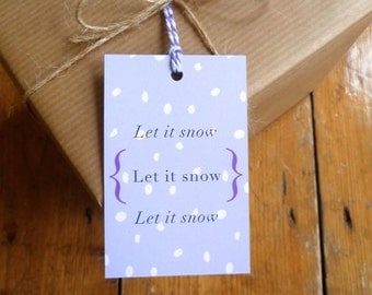 SALE - Pack of 6 Lilac Snow Christmas Gift Tags