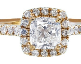 14k rose gold cushion cut diamond engagement ring deco 1.50ctw h-vs2 EGL USA