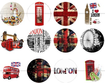 "London Magnets, London Pins, British, Union Jack, 1"" Inch Flat or Hollow Backs, Cabochons, 12 ct, UK, Big Ben, Great Britain, British"