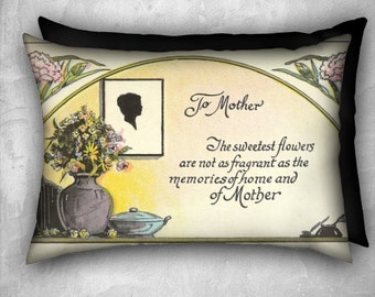 Gift for Mother - Decorative Pillow Cover Silhouette Vase of Flowers and Verse Velveteen  Pillow Cover 20x14 Lumbar Pillow  Vintage Inspired