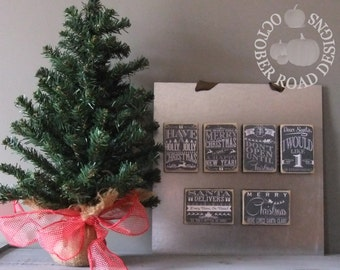 Christmas Magnets (Chalkboard) by October Road Designs