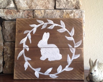 Bunny Silhouette -  Distressed Wood Sign
