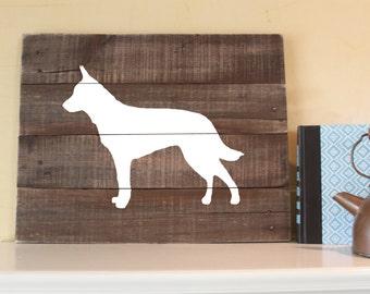 Blue Heeler Sign, Reclaimed Wood Sign, Australian Cattle Dog, Red Heeler Sign, Queensland, ACD Wood Sign, Blue Heeler Art, Blue Heeler Gift
