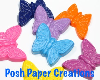 20 sets of 2 butterfly crayons - in cello bag tied with ribbon - 40 crayons - choose your colors