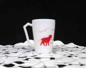 Mary Had A Little Lamb Red Graphics on White Milk Glass Hazel Atlas Childs Drinking Mug Cup