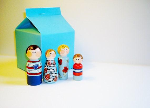 SALE Peg People Family, Unique Family Gift Idea